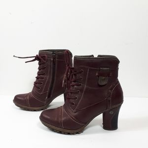 West Way Burgundy Bordeaux Zip/tie Up Booties